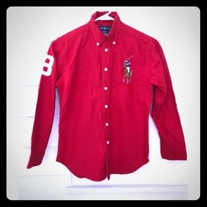 5/$20 Ralph Lauren Youth Red Button Shirt Polo